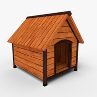 3D low-poly doghouse model