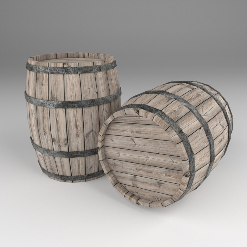 wooden barrel 3D