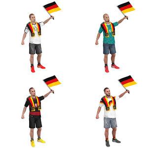 3D pack rigged soccer man model