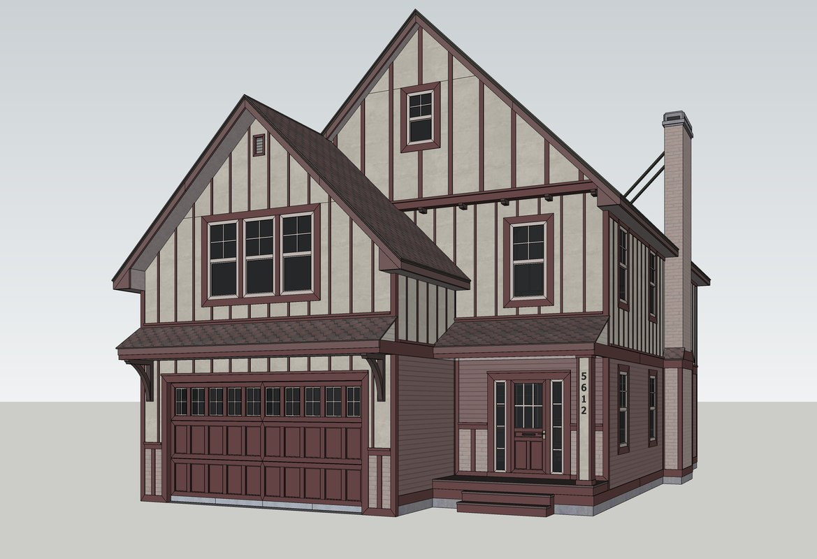 3D traditional american house model