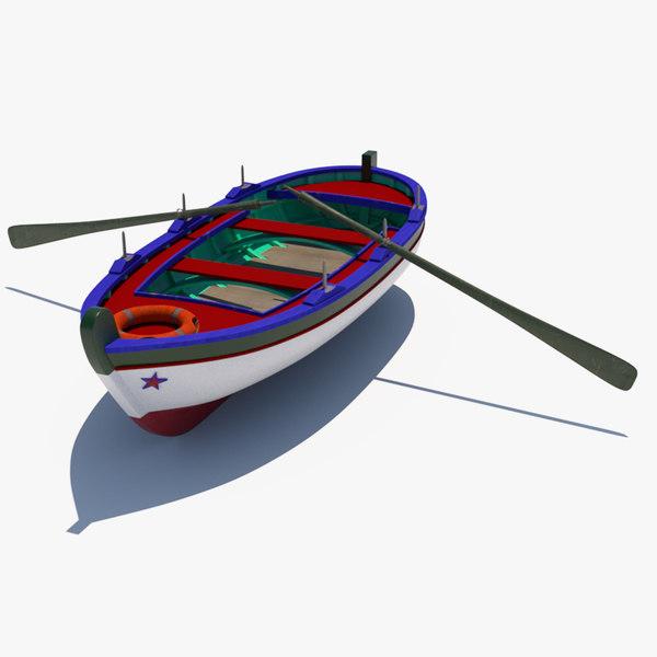 3D wooden fishing boat gozzo
