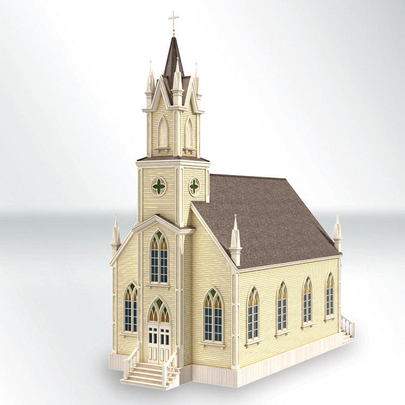 3D victorian church model
