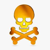 3D cartoon skull icon model