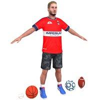 casual athlete soccer baseball 3D model