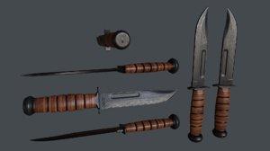 3D fighting knife ka-bar