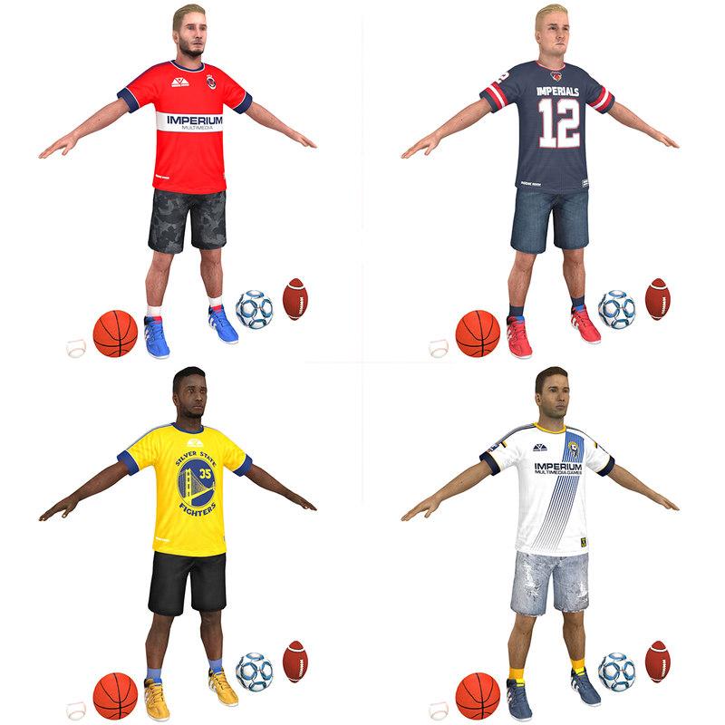 3D pack casual athlete soccer model