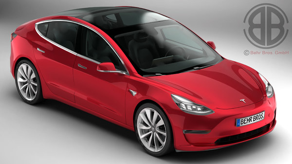 tesla 3 2018 modelled 3D model