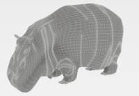 3D hippopotamus hide model