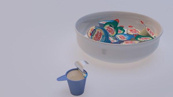 3D model coffee creamer cups