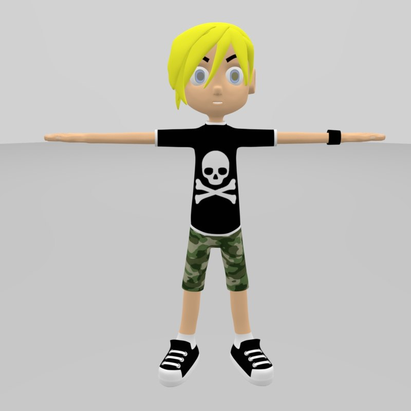 3D skate boy character