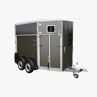 european-style horse trailer 3D model