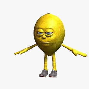 3D lemon cartoon character fruit