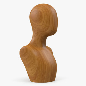 solid wood female mannequin 3D model
