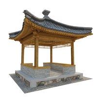 3D model qing pavilion corner