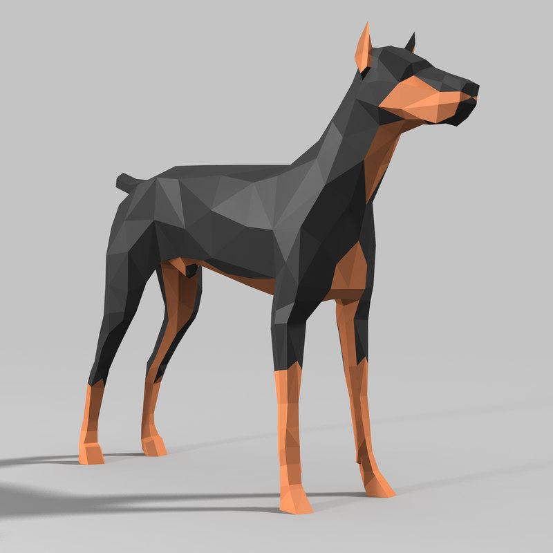 3D doberman model