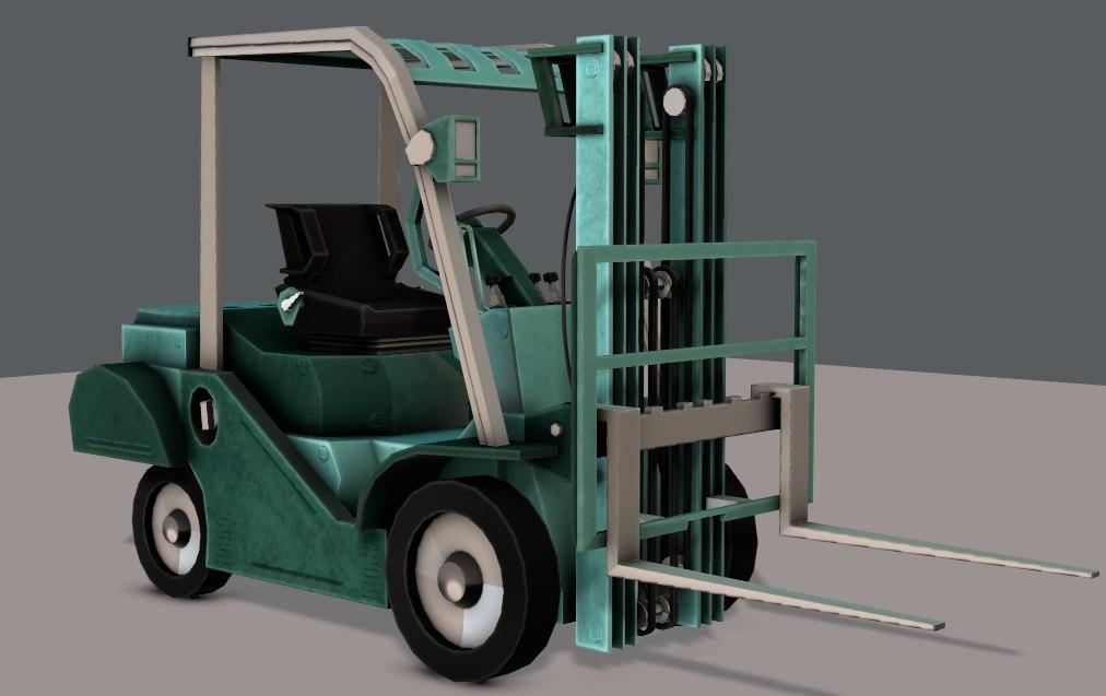 3D car cartoon forklift