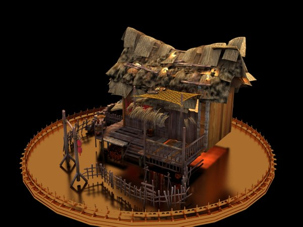 chinese house straw 3D model