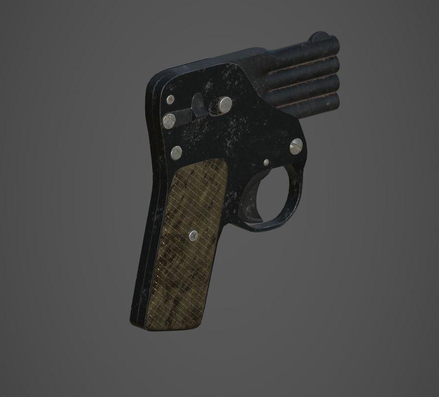 3D model multiple barrel gun