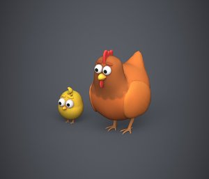 3D model stylized hen chicken
