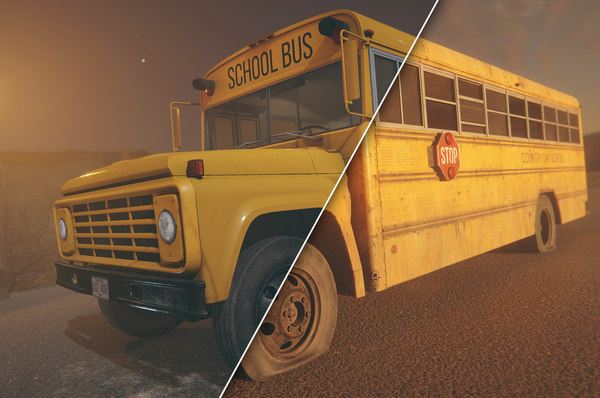 hq retro school bus 3D model