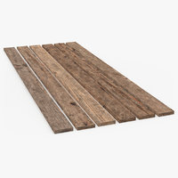 3D old wood planks set