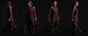 3D girl knight model