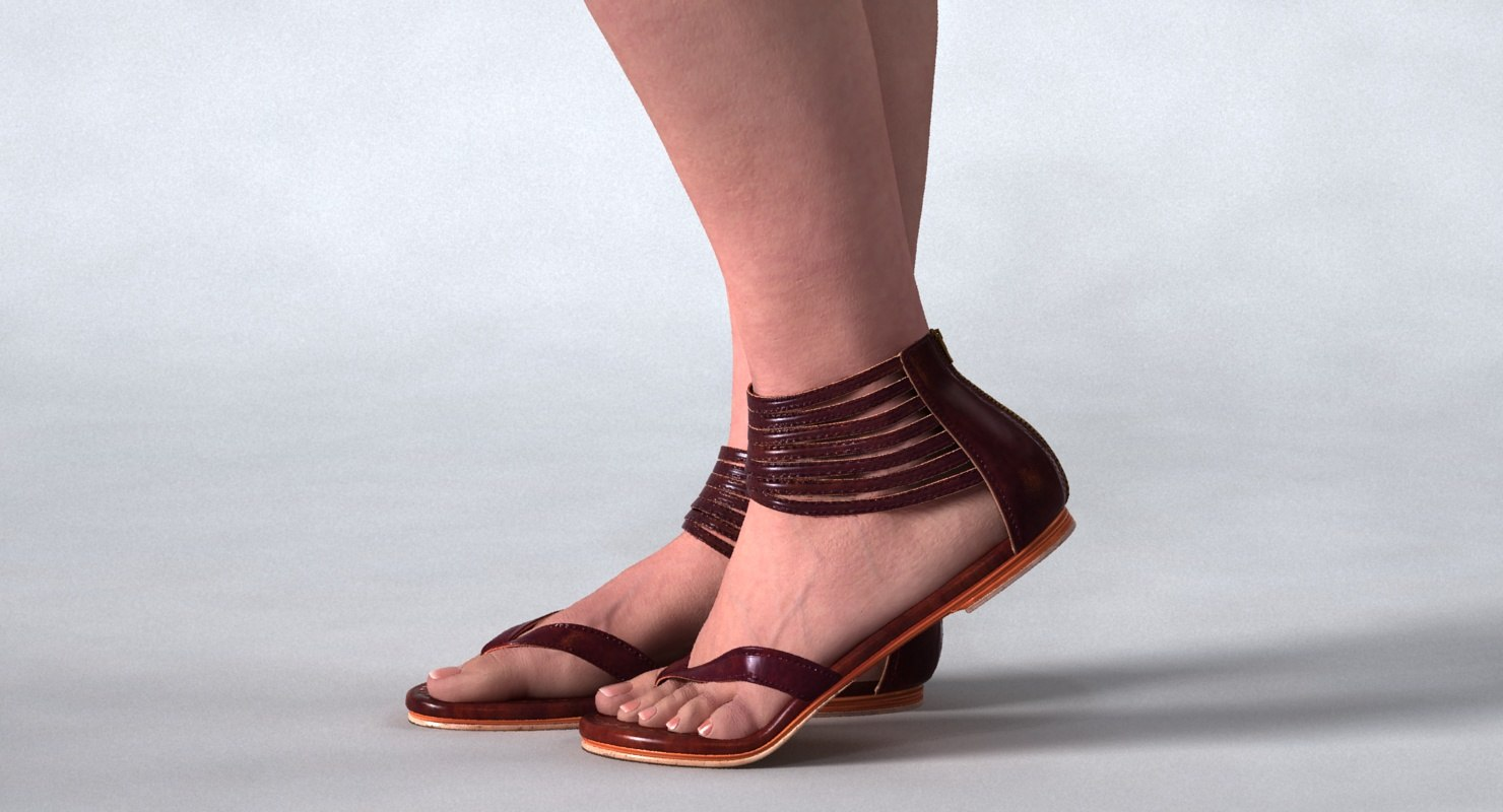 woman s legs sandals 3D