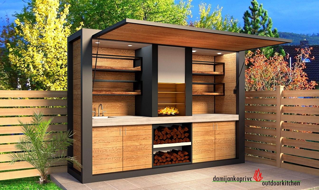 3D modern outdoor kitchen furniture model