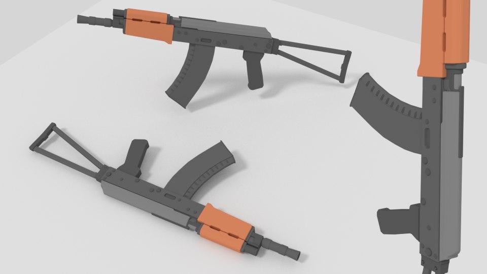 3D model modeled guns aks-74u