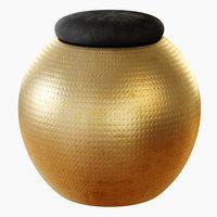 3D spherical stool black velvet
