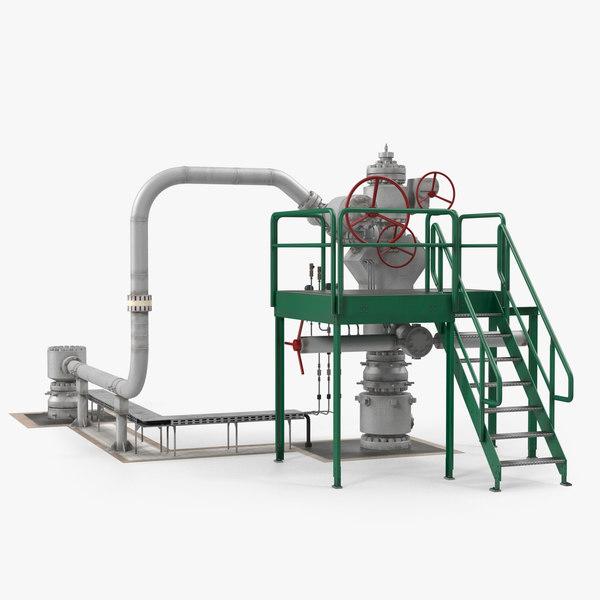 oil wellhead 3D model