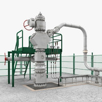 Oil Wellhead with Fence 3D Model