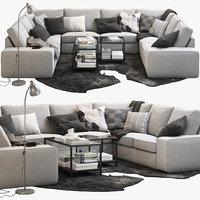 3D ikea kivik u-shaped sofa