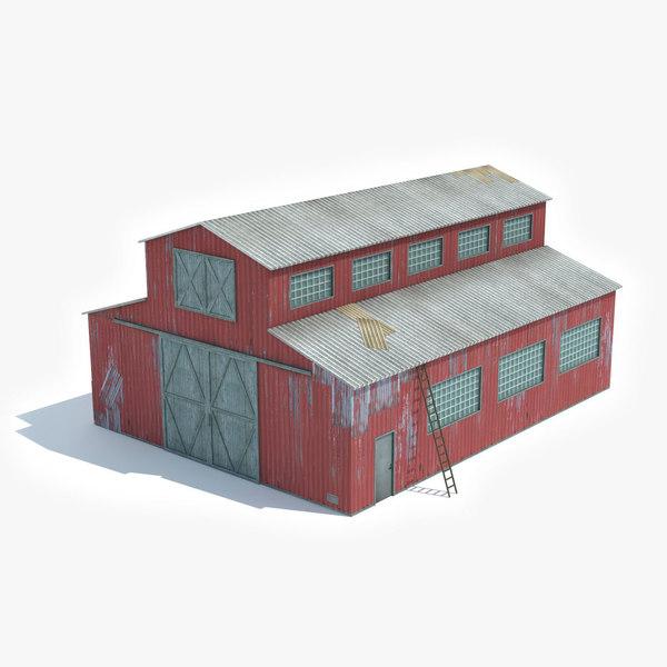 ready industrial building barn 3D