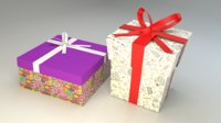 Low poly gift boxes of both cubical and rectangular cuboid form for party decorations
