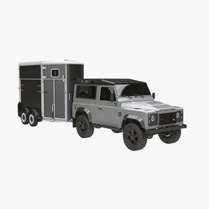 3D european-style horse trailer suv