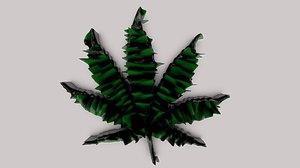 3D marijuana leaf model