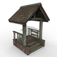 3D model wooden porch