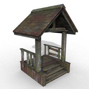 3D model wooden porch
