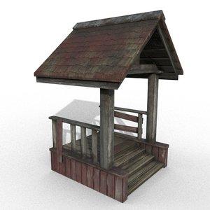 3D wooden porch