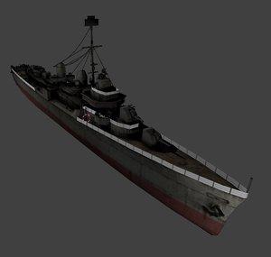3D american fletcher class destroyer
