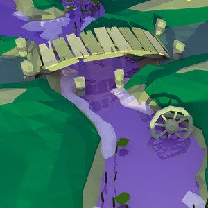 landscape wooden fence 3D model