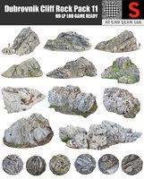 3D dubrovnik cliff rock pack model