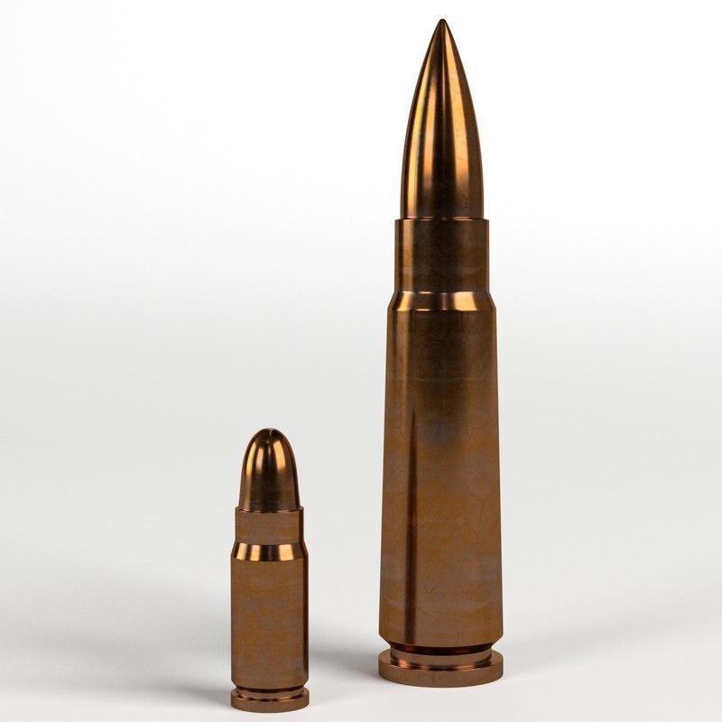 bullets guns pistols 3D model