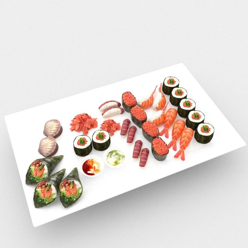 chopstick prawn seafood 3D model