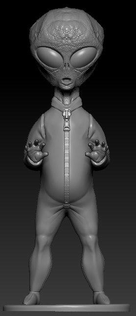3D simple gray alien stand model