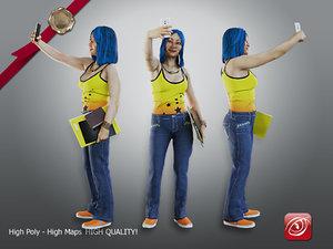 3D female student aas 010