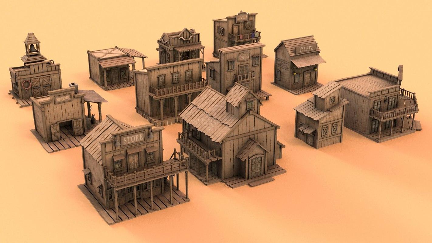 3D wild west houses