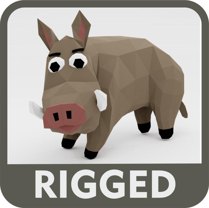 3D boar character rig