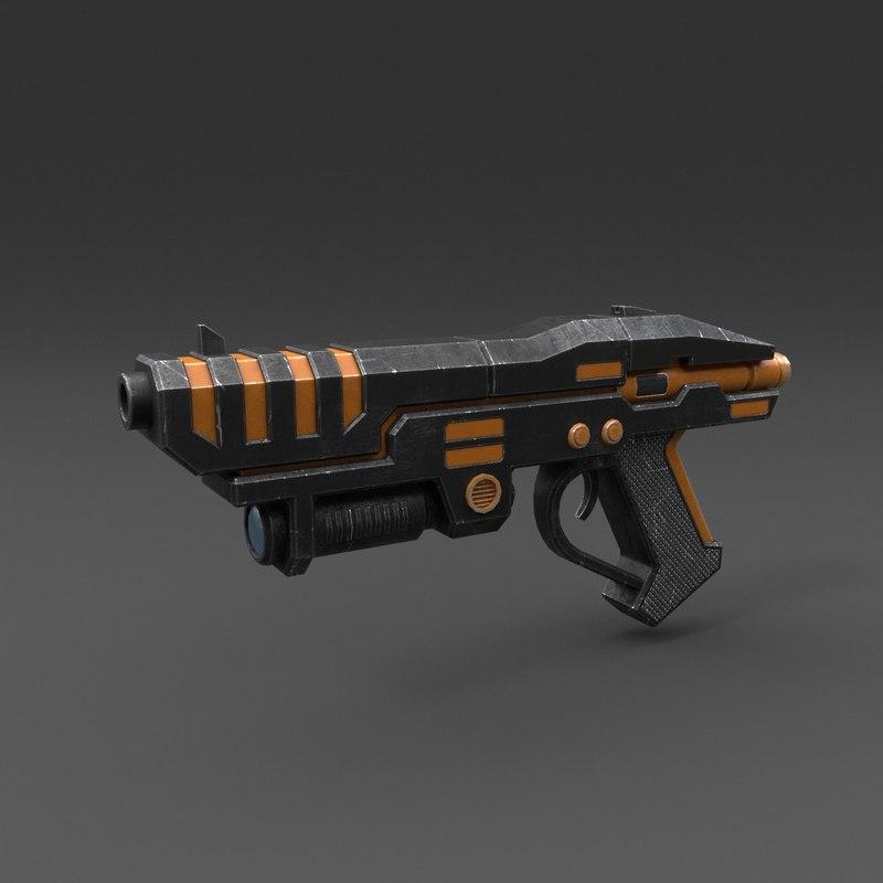 3D model gun pbr details